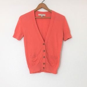 Coral Short Sleeve LOFT Pocket Sweater Shirt